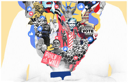 The Facebook Elections – Digital collage illustration